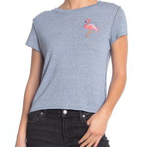 Free People Distressed Tee w Embroidered Flamingo